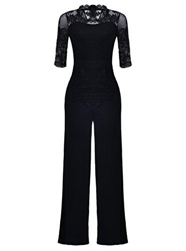 Voghtic Elegant Women Short Sleeve Lace Top Wide Leg Pants Jumpsuit Rompers for Party Black Pants Suit