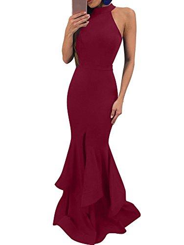 (GOBLES Womens Elegant Ruffles Sleeveless Split Evening Mermaid Maxi Dress Wine Red)