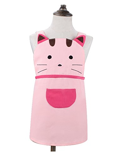 Love Potato Cute Girls Kids Toddler Cartoom Cat Embroidered Apron Cotton Children Apron Chef Kitchen Cooking Baking Apron for Kids 2-4 Years Old ()