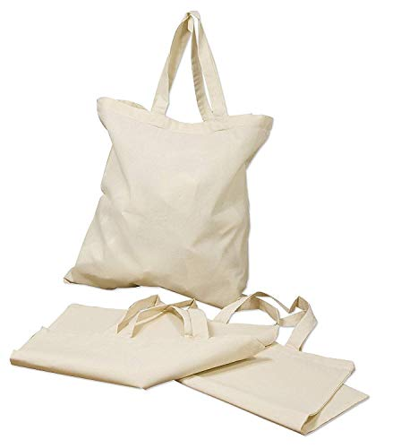 Georgiabags 12 Pack Reusable Cotton Canvas Tote Bags, 15.7