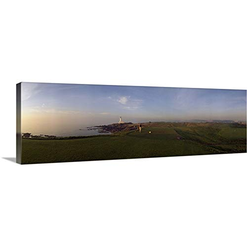 GREATBIGCANVAS Gallery-Wrapped Canvas Entitled Golf Course with a Lighthouse in The Background, Turnberry, South Ayrshire, Scotland by 48