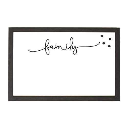 Petal Lane Framed Magnet Board - Ebony Frame ''Family Script'' Home Decor, 4 Magnets Included (16'' 24'')