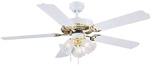 (BOSTON HARBOR CF-78025L 645929 Ceiling Fan Light Kit, Candelabra, 3, 60 W Lamp, Polished Brass, 18-1/2 in H, White )