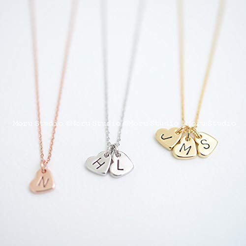 (Custom Initial Heart Necklace/Hand Stamped Letter Necklace, Rose Gold Tag, Dainty Heart, Personalized Name Necklace, Grandma Mommy Gift NCR 138)