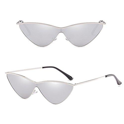 soleil de Lentille soleil mode de Or de Cateye femmes extérieures fille de Dintang UV400 de de de Cadre lunettes la Lunettes Argent avec protection 87fgqwKExA