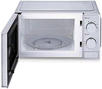 FLAMA 1838FL Microondas 20L Sin Grill Gris. 6 Programas Automáticos, Función Descongelación, Temporizador hasta 30 Minutos, Interior Blanco