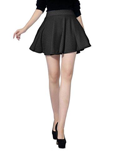 V28 Women Girls Stretch Waist Flared Plain Pleated Casual Mini Skater Skirt