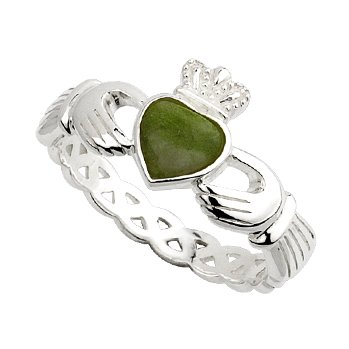 Ladies Sterling Silver Connemara Marble Claddagh Ring