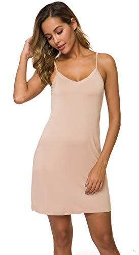 AUHEGN Women's Sexy Spaghetti Strap Tank Dress V-Neck Bodycon Club Party Mini Dress(Nude, Medium)
