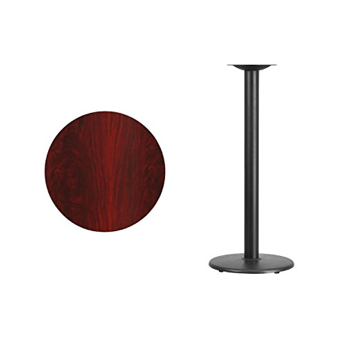 Flash Furniture 24'' Round Mahogany Laminate Table Top with 18'' Round Bar Height Table Base by Flash Furniture