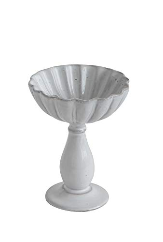Creative Co-Op White Fluted Terracotta Bowl on Pedestal
