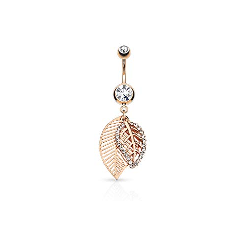 Inspiration Dezigns CZ Paved Leaves Dangle 316L Surgical Steel Jeweled Belly Button Navel Rings (Rose Gold/Clear)