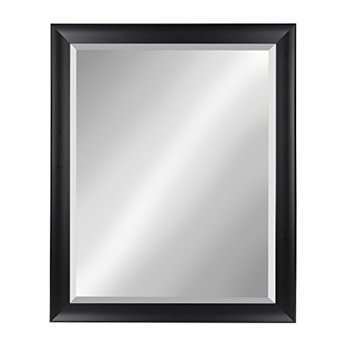 Kate and Laurel Scoop Black 26x32 Framed Beveled Wall Mirror