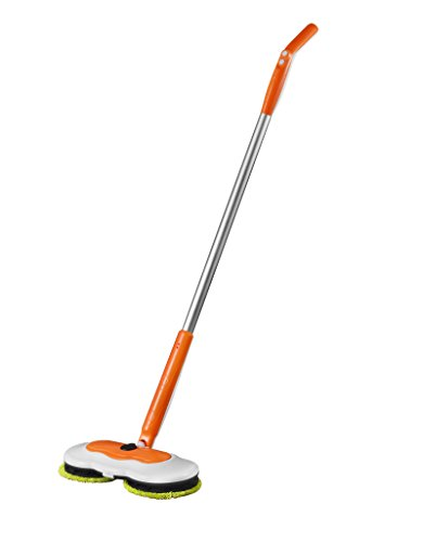 Armati Hardwood Floor Mop – 360°Cordless Tub and Tile Scrubber with Batteries – Cleaning System for Polishing, Mopping, Sweeping – Orange