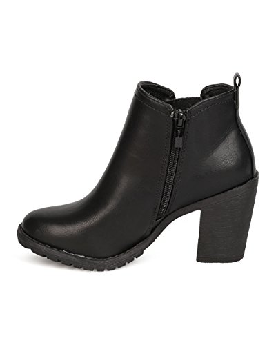 Leatherette FF71 Women Nature Boot Chelsea Chunky Heel Black Breeze qtzwx1w7