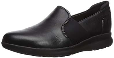 Clarks Women's Un Adorn Step Black Leather 5 B US