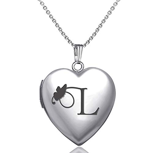 (MUERDOU Locket Necklace That Holds Pictures Initial Alphabet Letter Heart Shaped Photo Memory Locket Pendant Necklace (L))