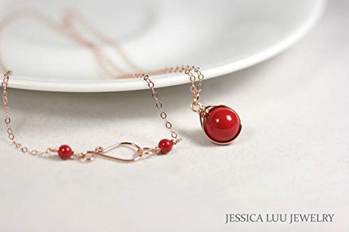 (Rose Gold Red Coral Necklace with Swarovski Pearl Wire Wrapped Choice of Rose or Yellow Gold Filled)