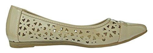 Pierre Dumas Scarpe Slip-on Da Donna Abby-13 Pelle Verniciata Vegana Taglio Laser Scarpe Slip-on A Punta Piatta Scarpe Nude