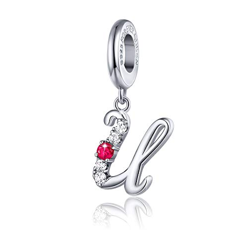 FOREVER QUEEN 925 Sterling Silver U Letter Initial Dangle Beads Charm Red Zircon Alphabet Pendants for Snake Chain Bracelets Necklace Gift Jewelry for Mother -