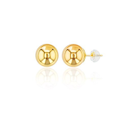 (Decadence 14K Gold Yellow 8mm Ball Stud Earrings and 14K Silicone Back, 8)