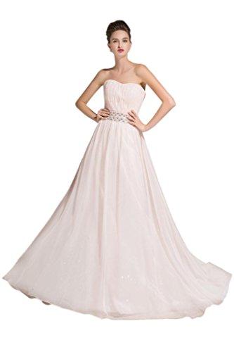 sunvary una línea gasa parte trasera abierta vestidos de noche para novia Rosa