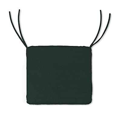 Weather-Resistant Outdoor Classic Square Chair Cushion with Ties in Forest Green : Patio Furniture Cushions : Garden & Outdoor