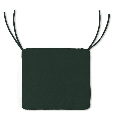 Weather-Resistant Outdoor Classic Square Chair Cushion with Ties in Forest Green