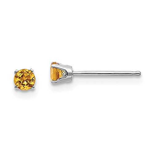 14k White Gold 3mm Yellow Citrine Stud Earrings Birthstone November Prong Gemstone Fine Jewelry Gifts For Women For Her