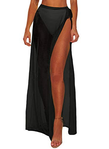 Blibea Women's Sexy Sheer Skirt Solid Cover Up Swimsuit Beach Sarongs Wrap Maxi Skirt Swimwear Bathing Suits One Size Black ()
