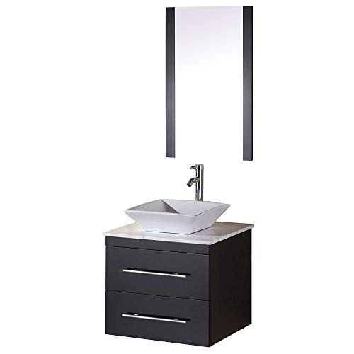 - Design Element Elton Wall-Mount Single Vessel Sink Vanity with Carrera White Marble Countertop, 24-Inch