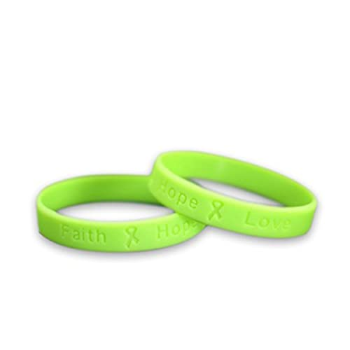 Lymphoma Awareness Lime Green Silicone Bracelet - Adult Size - (50 Bracelets - Wholesale)