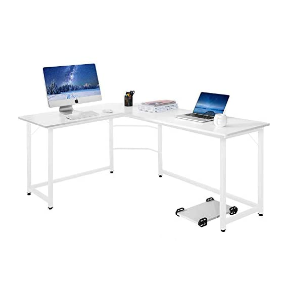 Modern Luxe L-Shaped Desk Corner Computer PC Table Workstation Home Office Desk (White) - Attention:This computer table has a white desktop, and the color of the legs is white or black. Warehouse will be delivered at random. L-shape office desk provides a corner wedge for more space allows for easy multi-tasking The large desk top surface provides plenty of room for your monitor or laptop, as well as papers and other essential office supplies, and the sturdy frame for secure and stable - writing-desks, living-room-furniture, living-room - 3174q2igXsL. SS570  -