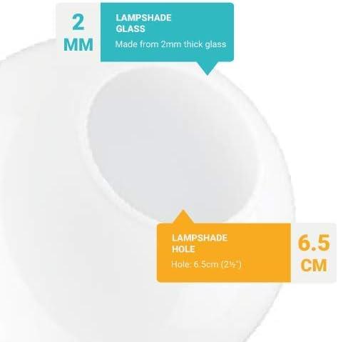 12.5cm Diametro Sostituzione sferico Globe Paralume in Vetro Bianco Apertura: 6.0cm Diametro Senza Collo Disponibile in Altri Dimensioni.