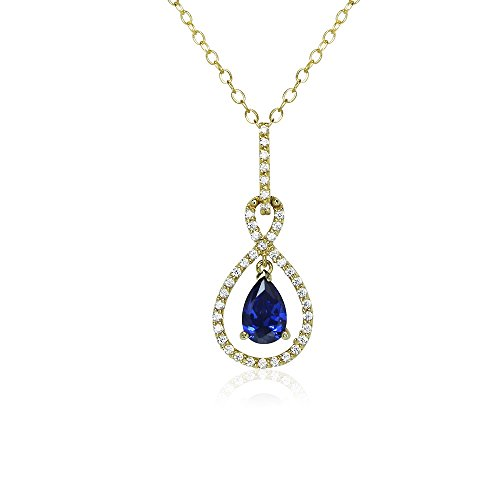 Yellow Gold Flashed Sterling Silver Blue Cubic Zirconia Teardrop Infinity Figure 8 (Figure Eight Gold Necklace)