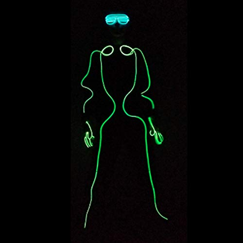 Neon EL Wire, Fluorescent Dance Show Costume, Glowing Strobing, Frog Man, with Controller, for Xmas Party Pub Festival - Clothing Frogman