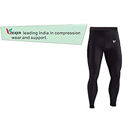 Zexer Men's Perfect Fit Fitness Compression Lower Jogging Tights (Black, Large)