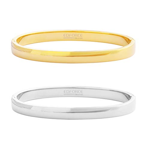 Edforce Stainless Steel Set of 2 Women's Stackable Bangle Bracelet Hinged Oval-Shape Slip-On, (58mm x ()