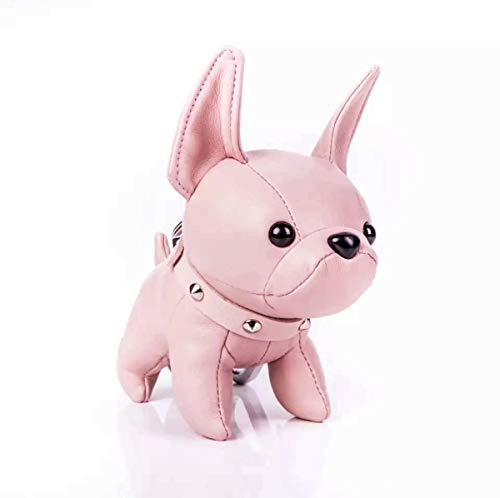 - Handmade French Bulldog Keychain Cute Leather Car Key Rings Pendant Gift Purse Handbag Backpack Charm Accessories (Pink)