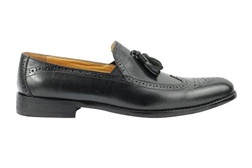 eleganti mocassini nbsp;9 nbsp;7 vera vintage nbsp;11 nuovo in nbsp;10 pelle Black nera Xposed uomo nbsp;8 Tassel tan scarpe 6 Brogue qvaAnx7