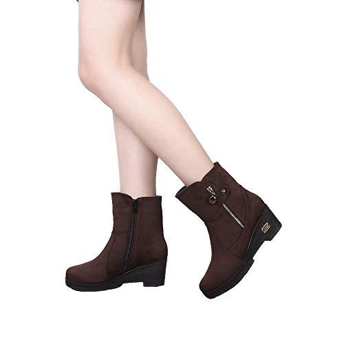 Cuña Redonda Zapatos De Coffee Color Con Botas Bazhahei Zipper Cabeza Pelo 1 Botines Para Ante Bola Pure Boots Punta Gamuza Zapatillas Mujer qvttZ