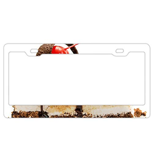 YUMHlicenseplateframeLL Car License Plate Frame - Fruitcake Chocolate Nuts Biscuit Alumina License Plate Cover