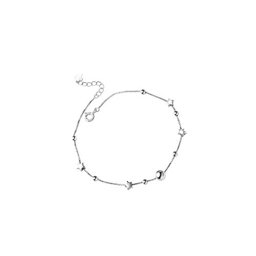 (RYANHYPE Ball Bead Anklet Sterling Silver Star Anklet Italy Thin Box Chain Foot Anklet Bracelet for Women Girls Summer Jewelry)