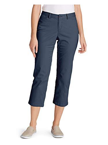 (Eddie Bauer Women's Stretch Legend Wash Cropped Pants - Curvy Fit, Dusted Indigo)