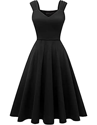 DRESSTELLS Women's Bridesmaid Vintage Tea Dress V-Neck Prom Party Swing Cocktail Dress