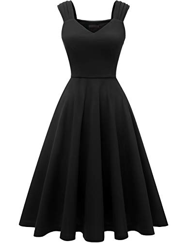 DRESSTELLS Women's Bridesmaid Vintage Tea Dress V-Neck Prom Party Swing Cocktail Dress Black - Tea Cocktail Length
