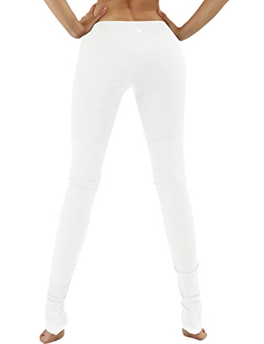 Yogareflex Women's Yoga Active Workout Ribbed Leggings Pants Hidden Pocket , White , Small
