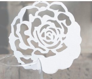Worldoor50 Rose Wedding Laser Cut Table Number Name Place Card Wedding Party Decoration Favor/Elegant Rose Shaped Design Laser Cutting Place Card Wedding Party Decoration