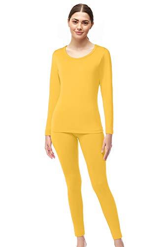 Womens Microfiber Fleece Thermal Underwear Long Johns AZ 2000 Yellow L (Yellow Womens Underwear)