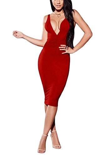 Del Bodycon Midi Jaycargogo Femminili v Club Di Maniche Collo Rosso Sexy Vestiti Deep Del 616UWwZqIz